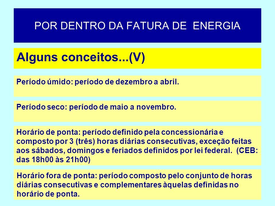 Alguns conceitos...(VI) POR DENTRO DA FATURA DE ENERGIA Estrutura tarifária: conjunto de tarifas aplicáveis às componentes de consumo de energia elétrica e/ou demanda de potência ativas de acordo com a modalidade de fornecimento.