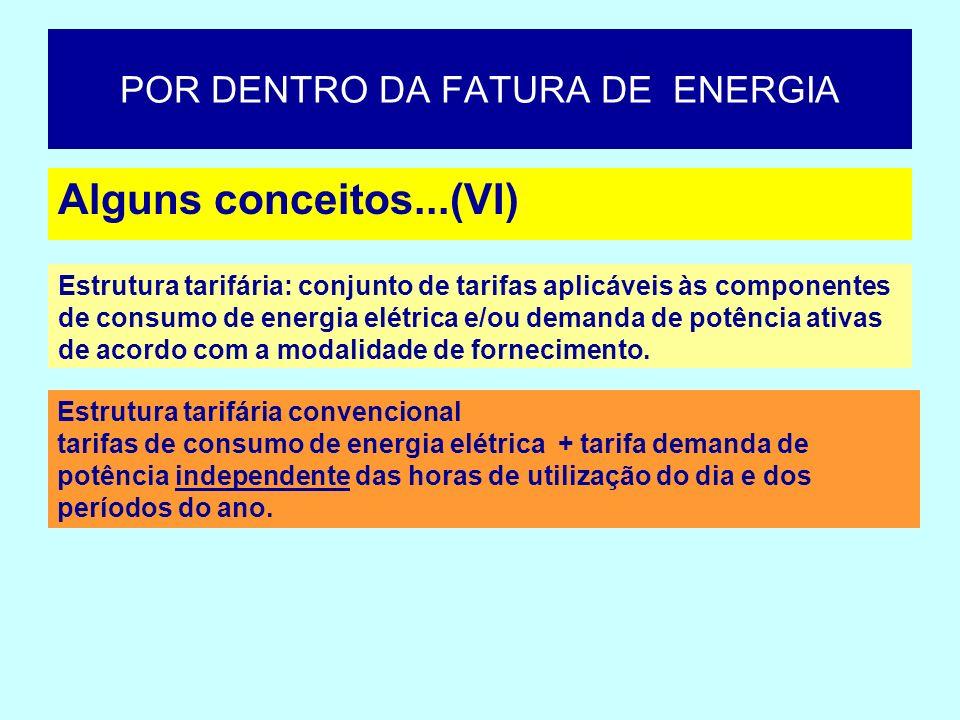 Alguns conceitos...(VI) POR DENTRO DA FATURA DE ENERGIA Estrutura tarifária: conjunto de tarifas aplicáveis às componentes de consumo de energia elétr