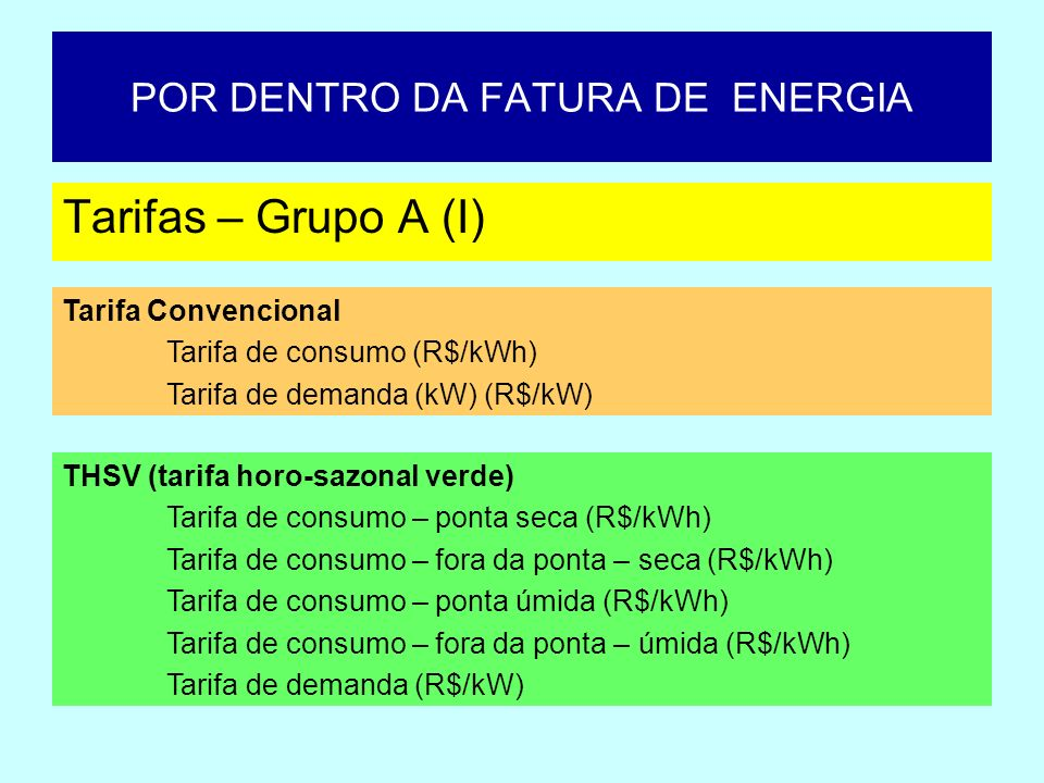 POR DENTRO DA FATURA DE ENERGIA Tarifas – Grupo A (I) Tarifa Convencional Tarifa de consumo (R$/kWh) Tarifa de demanda (kW) (R$/kW) THSV (tarifa horo-