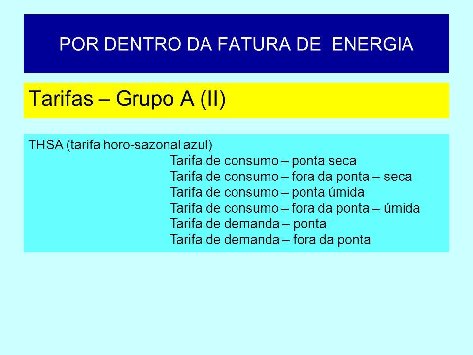 POR DENTRO DA FATURA DE ENERGIA Tarifas – Grupo A (II) THSA (tarifa horo-sazonal azul) Tarifa de consumo – ponta seca Tarifa de consumo – fora da pont