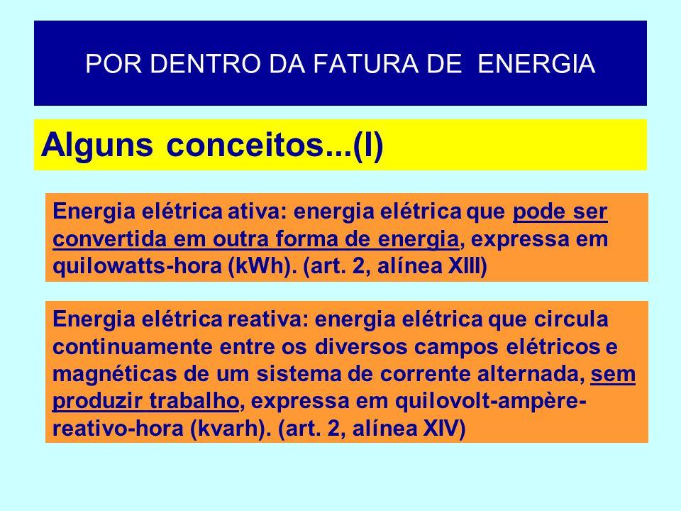 Alguns conceitos...(I) Energia elétrica ativa: energia elétrica que pode ser convertida em outra forma de energia, expressa em quilowatts-hora (kWh).