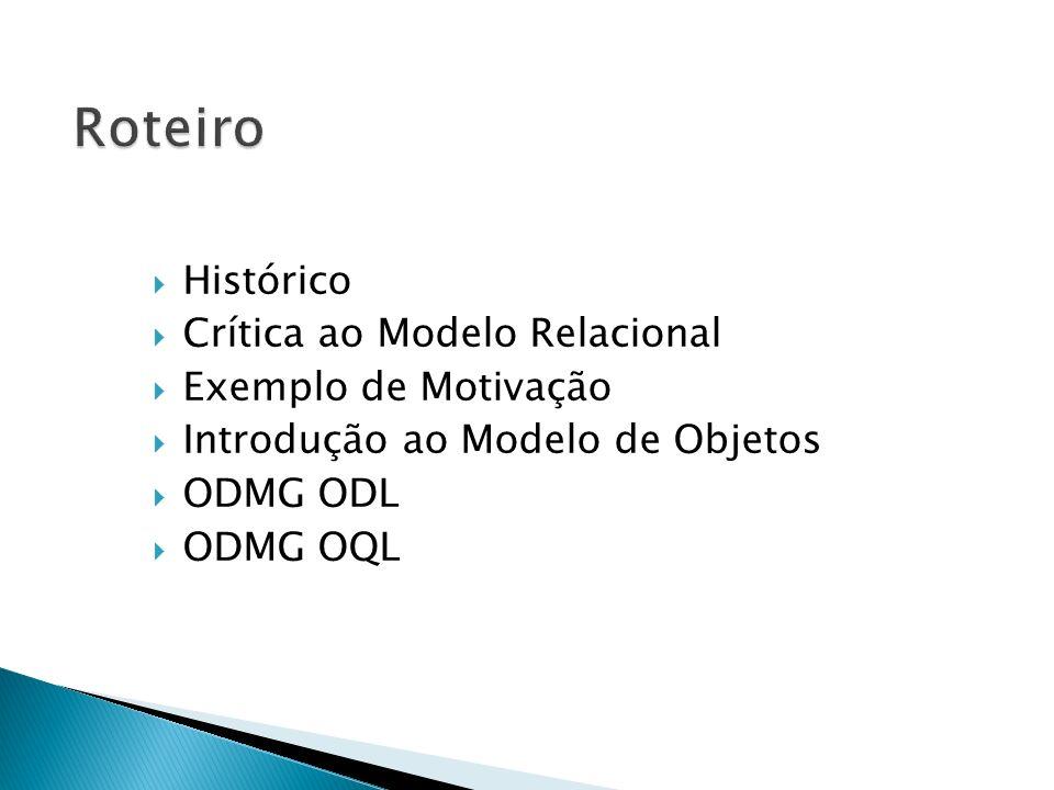 1986 SQL-86 (SQL1) - padrão originalmente desenvolvido pela ANSI, posteriormente adotado pela ISO 1989 SQL-89 - extensão do SQL-86 publicado em 89 OMG - criação do Object Management Group 1991 ODMG - criação do Object Database Management Group 1992 SQL-92 (SQL2) - padrão aprovado pela ISO 1993 ODMG 1.2 1996 SQL-92/PSM - extensão do SQL-92 - provê linguagem computacionalmente completa 1997 ODMG 2.0 1999 SQL:1999 (SQL3) - padrão aprovado em 1999 pela ISO (após 7 anos de trabalho) - SQL orientada a objeto - SGBDs comerciais oferecem parte do SQL:1999 2000 ODMG 3.0 2004 SQL-2003 Aprimoramento de SQL:1999 Introdução de XML