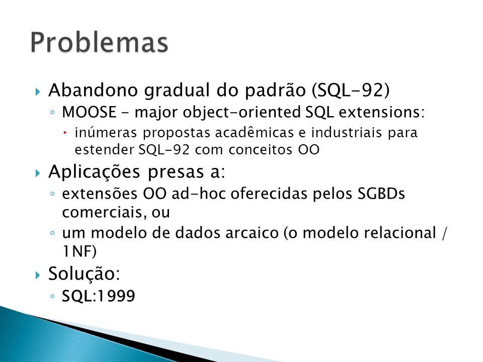 SGBDs Relacionais (SGBDRs) - Virtudes: Estrutura: 1NF é simples Integridade referencial é útil e semanticamente poderosa Comportamento: SQL é declarativa (não navegacional) SQL manipula tabelas (conjuntos de tuplas) Aplicações convencionais: casamento adequado com SQL através de cursores sistemas já consolidados no mercado boa performance muitos anos de pesquisa e aprimoramento eficiência: otimização de consultas, gerenciamento de transações Robustez Padronização