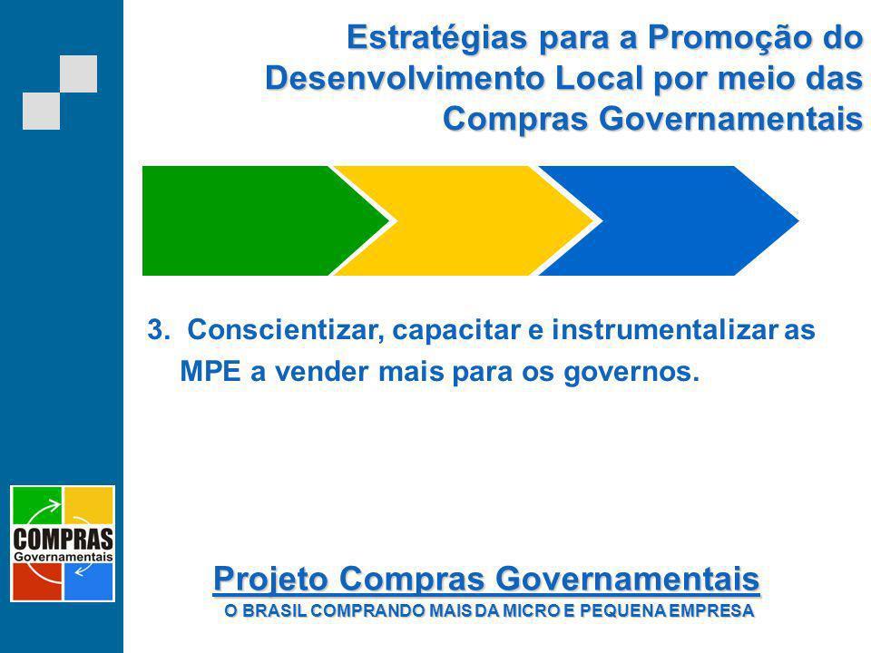 Estratégias para a Promoção do Desenvolvimento Local por meio das Compras Governamentais 3. Conscientizar, capacitar e instrumentalizar as MPE a vende