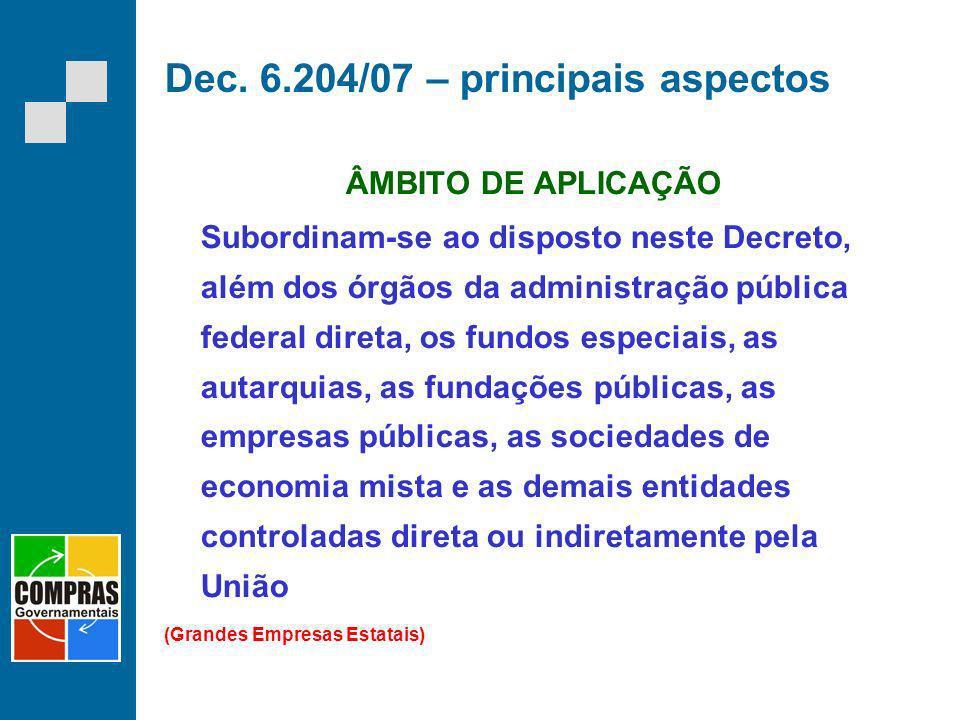 Dec. 6.204/07 – principais aspectos ÂMBITO DE APLICAÇÃO Subordinam-se ao disposto neste Decreto, além dos órgãos da administração pública federal dire