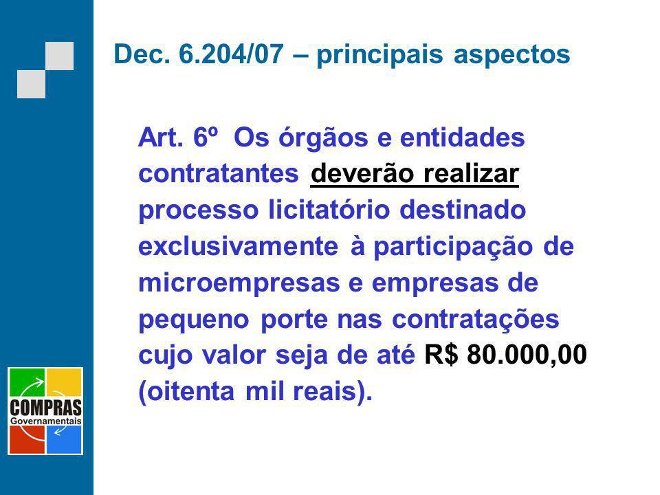 Dec. 6.204/07 – principais aspectos Art. 6º Os órgãos e entidades contratantes deverão realizar processo licitatório destinado exclusivamente à partic