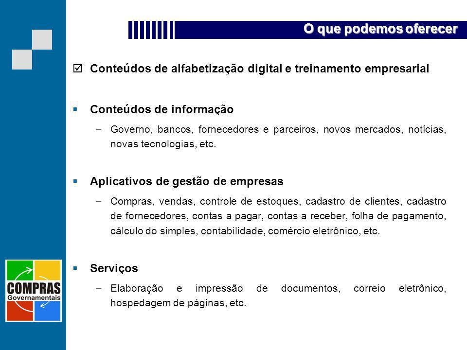 Conteúdos de alfabetização digital e treinamento empresarial Conteúdos de informação –Governo, bancos, fornecedores e parceiros, novos mercados, notíc