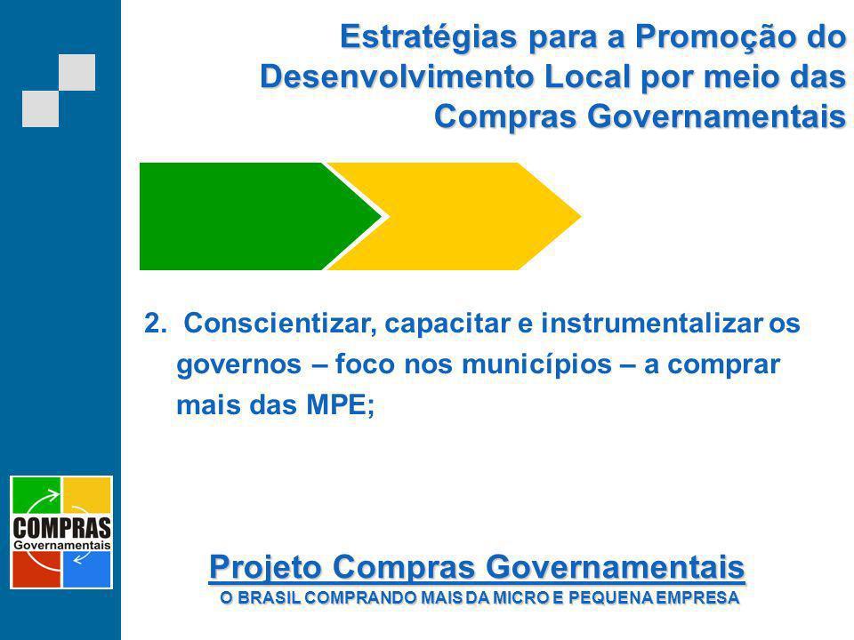 Estratégias para a Promoção do Desenvolvimento Local por meio das Compras Governamentais 2. Conscientizar, capacitar e instrumentalizar os governos –