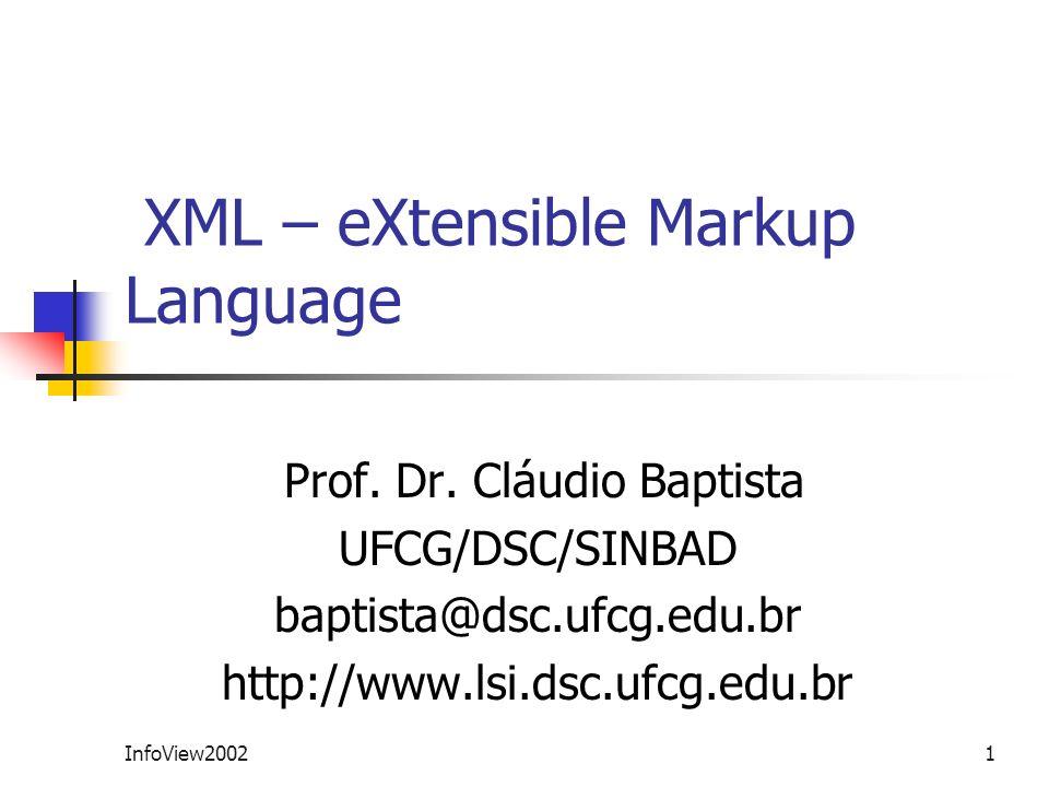 InfoView20021 XML – eXtensible Markup Language Prof. Dr. Cláudio Baptista UFCG/DSC/SINBAD baptista@dsc.ufcg.edu.br http://www.lsi.dsc.ufcg.edu.br