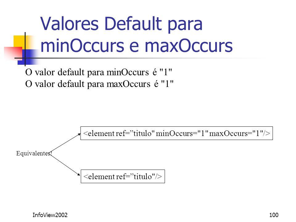 InfoView2002100 Valores Default para minOccurs e maxOccurs O valor default para minOccurs é