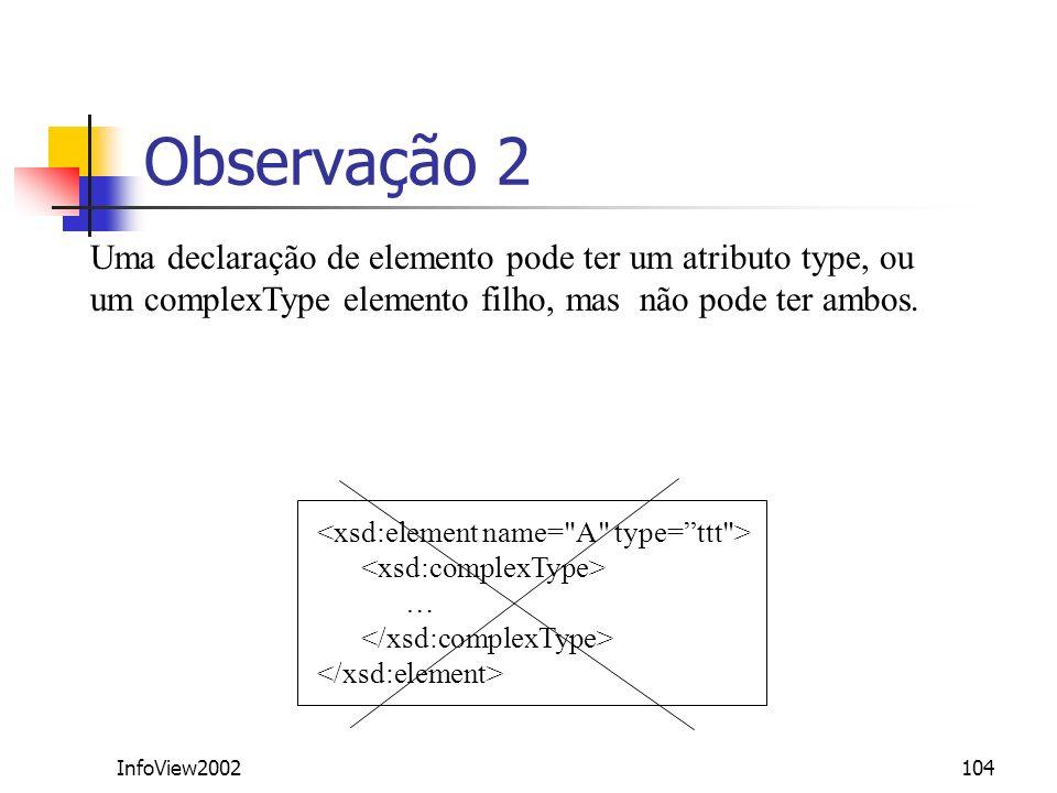 InfoView2002104 Observação 2 Uma declaração de elemento pode ter um atributo type, ou um complexType elemento filho, mas não pode ter ambos. …