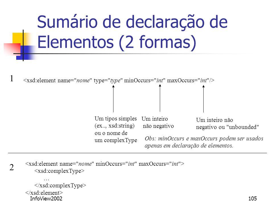 InfoView2002105 Sumário de declaração de Elementos (2 formas) Um tipos simples (ex.., xsd:string) ou o nome de um complexType … 1 2 Um inteiro não neg