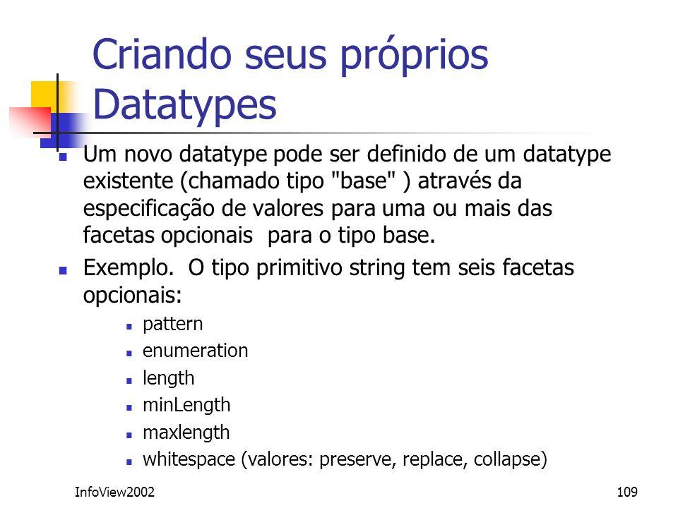 InfoView2002109 Criando seus próprios Datatypes Um novo datatype pode ser definido de um datatype existente (chamado tipo