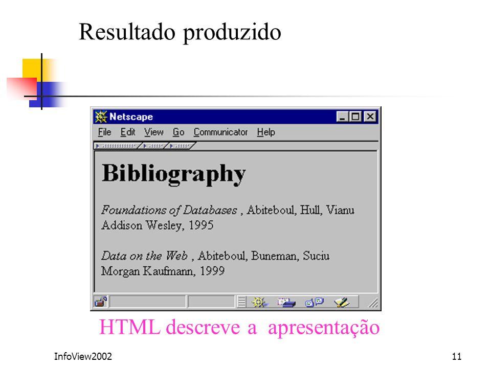 InfoView200211 Resultado produzido HTML descreve a apresentação