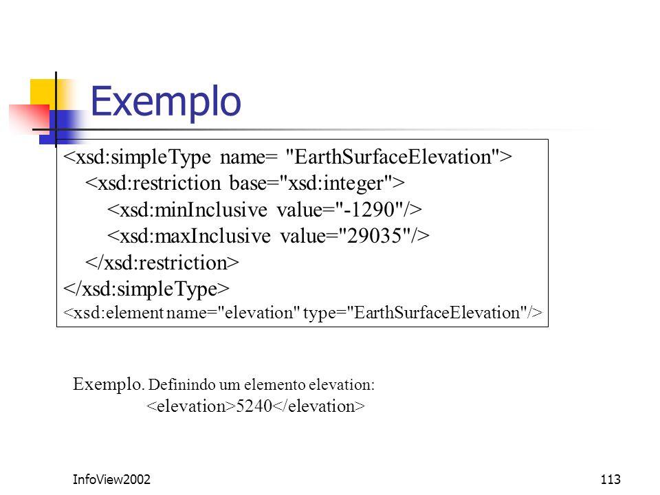 InfoView2002113 Exemplo Exemplo. Definindo um elemento elevation: 5240