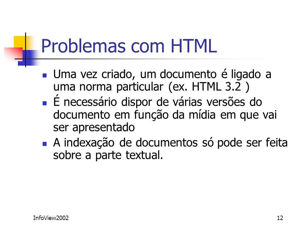 InfoView200212 Problemas com HTML Uma vez criado, um documento é ligado a uma norma particular (ex. HTML 3.2 ) É necessário dispor de várias versões d