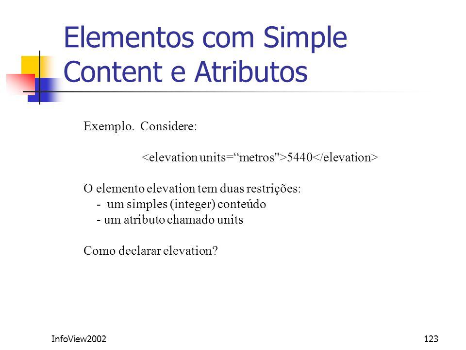 InfoView2002123 Elementos com Simple Content e Atributos Exemplo. Considere: 5440 O elemento elevation tem duas restrições: - um simples (integer) con