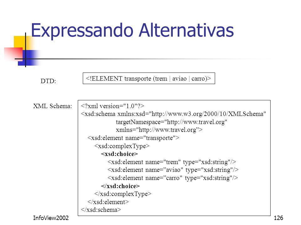 InfoView2002126 Expressando Alternativas DTD: XML Schema: <xsd:schema xmlns:xsd=