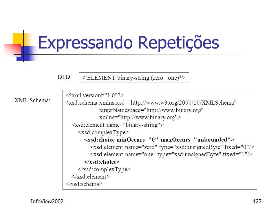 InfoView2002127 Expressando Repetições <xsd:schema xmlns:xsd=