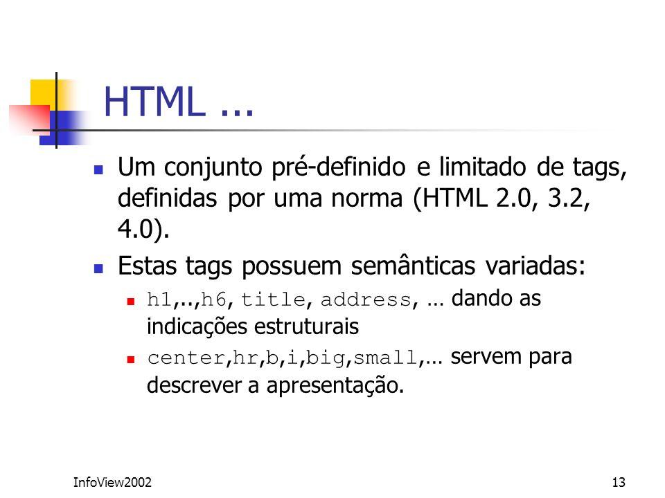 InfoView200213 HTML... Um conjunto pré-definido e limitado de tags, definidas por uma norma (HTML 2.0, 3.2, 4.0). Estas tags possuem semânticas variad