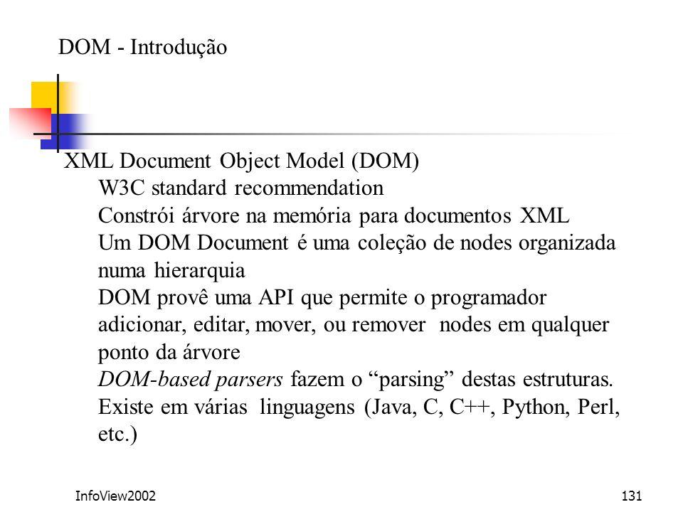 InfoView2002131 DOM - Introdução XML Document Object Model (DOM) W3C standard recommendation Constrói árvore na memória para documentos XML Um DOM Doc