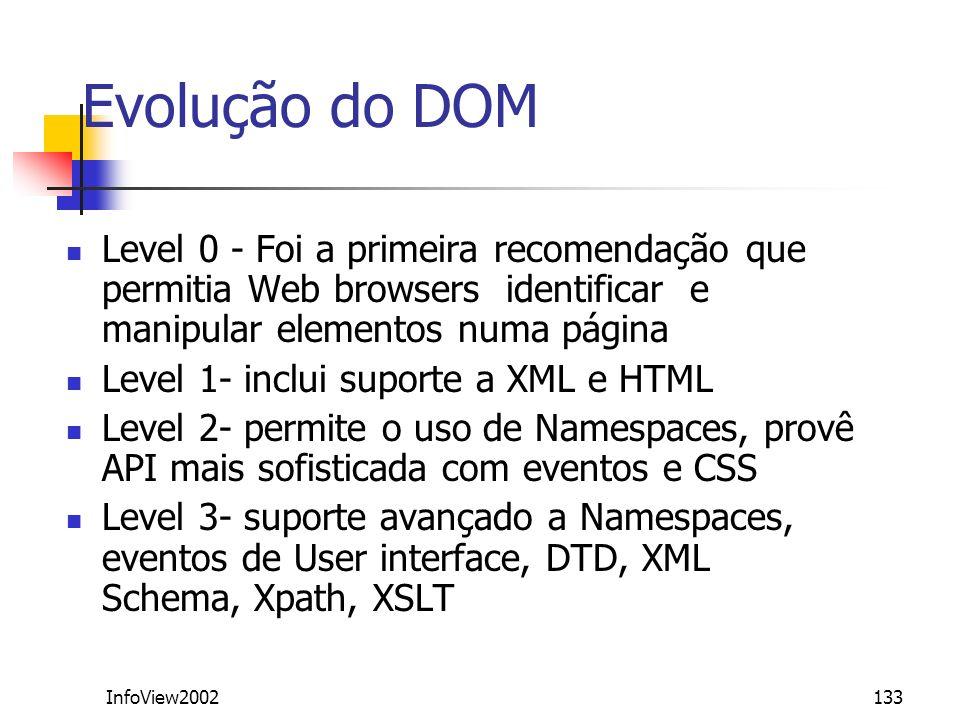 InfoView2002133 Evolução do DOM Level 0 - Foi a primeira recomendação que permitia Web browsers identificar e manipular elementos numa página Level 1-