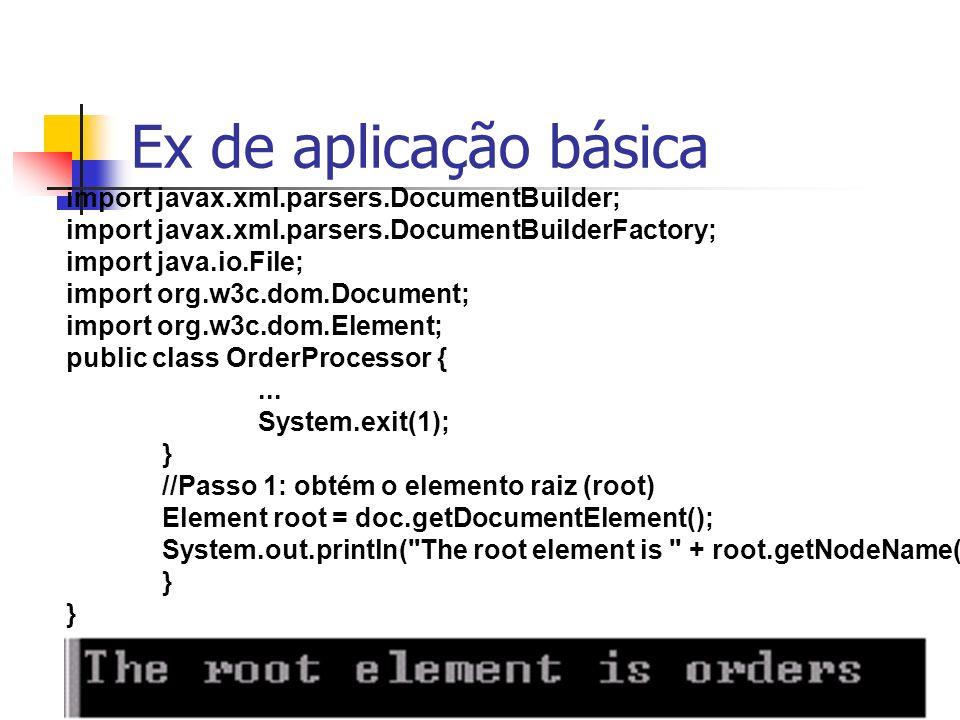 InfoView2002146 Ex de aplicação básica import javax.xml.parsers.DocumentBuilder; import javax.xml.parsers.DocumentBuilderFactory; import java.io.File;