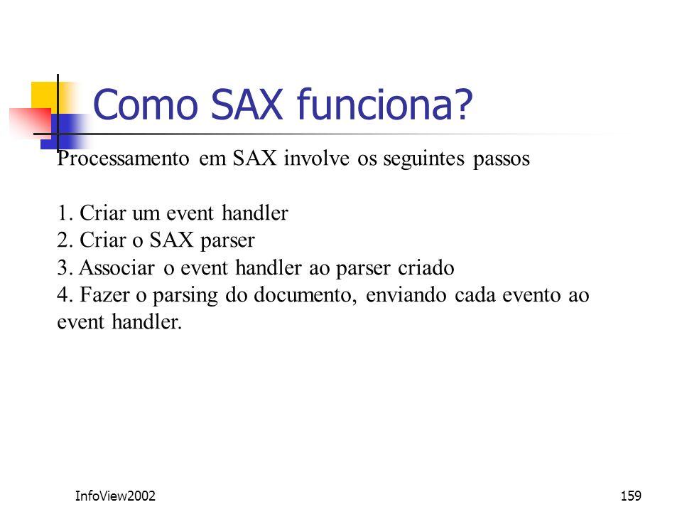 InfoView2002159 Como SAX funciona? Processamento em SAX involve os seguintes passos 1. Criar um event handler 2. Criar o SAX parser 3. Associar o even