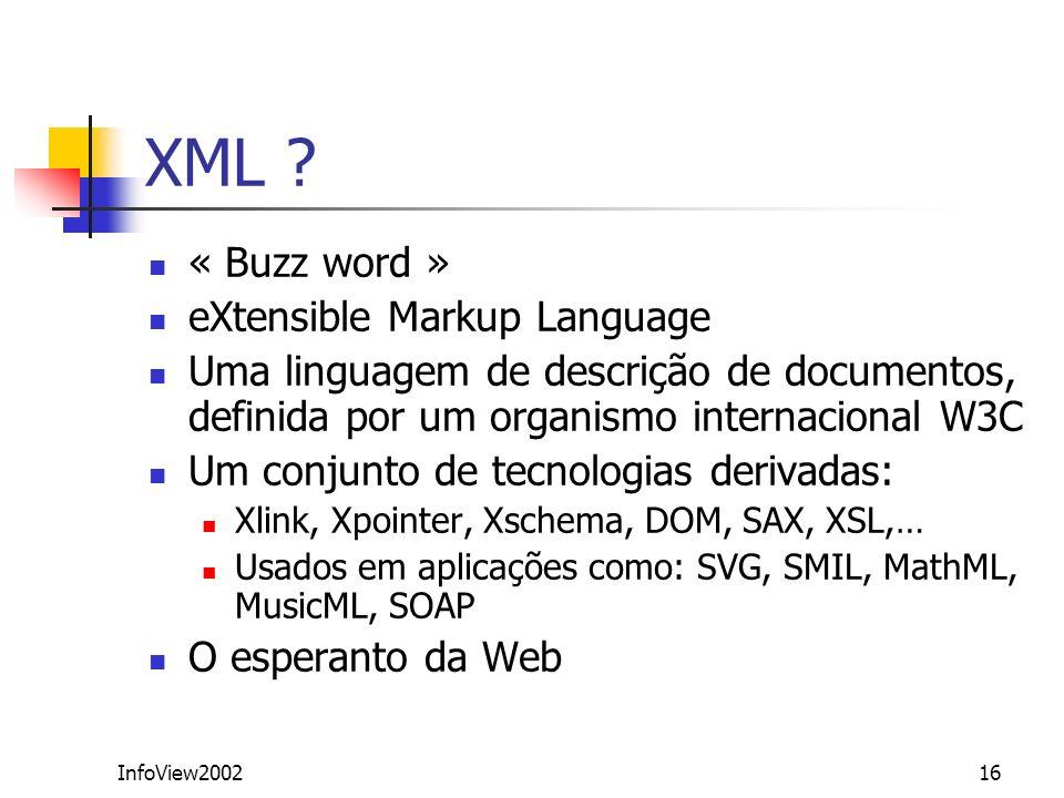 InfoView200216 XML ? « Buzz word » eXtensible Markup Language Uma linguagem de descrição de documentos, definida por um organismo internacional W3C Um
