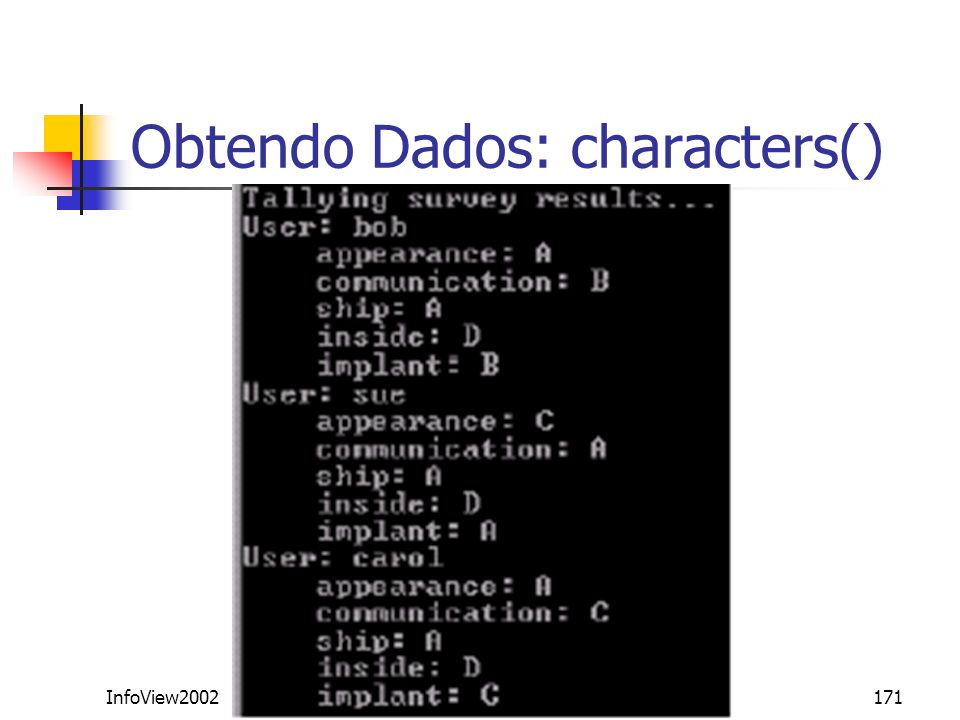 InfoView2002171 Obtendo Dados: characters()