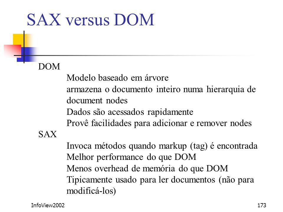 InfoView2002173 SAX versus DOM DOM Modelo baseado em árvore armazena o documento inteiro numa hierarquia de document nodes Dados são acessados rapidam