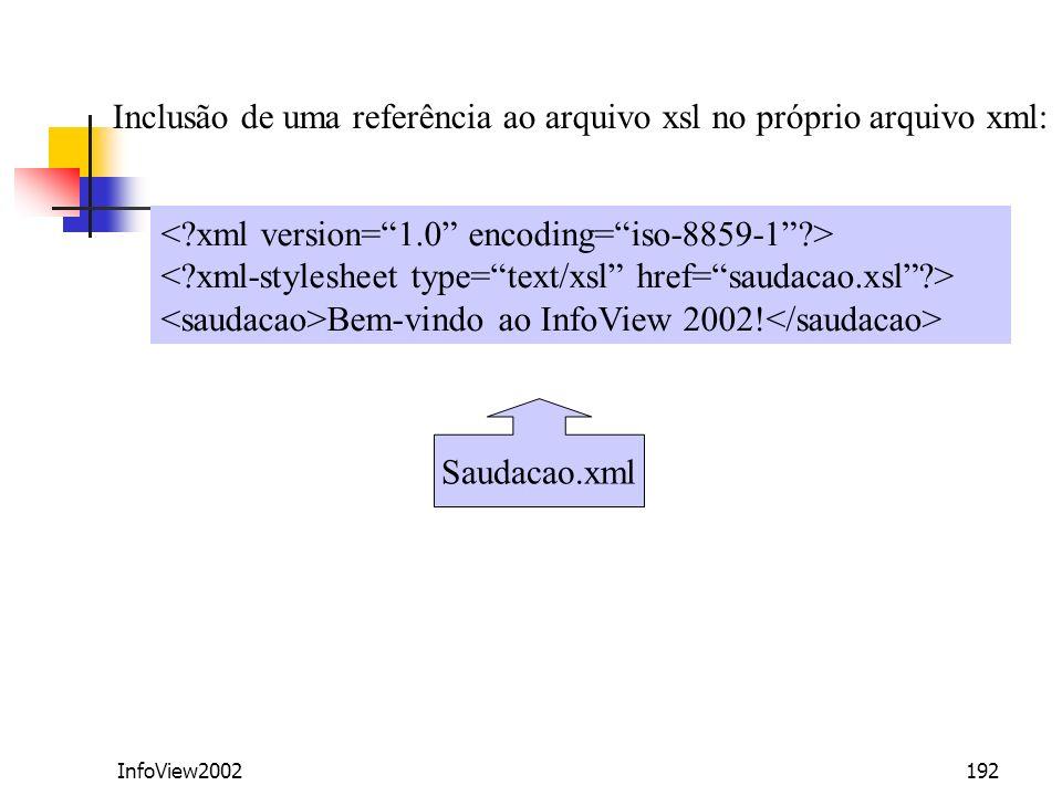 InfoView2002192 Bem-vindo ao InfoView 2002! Saudacao.xml Inclusão de uma referência ao arquivo xsl no próprio arquivo xml: