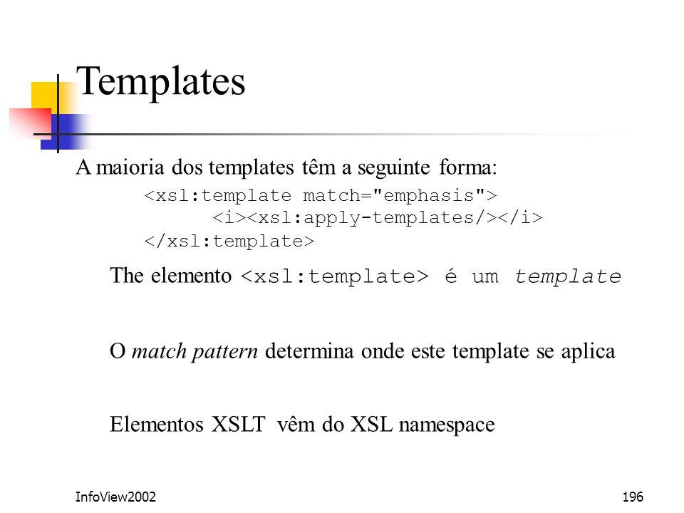 InfoView2002196 Templates A maioria dos templates têm a seguinte forma: The elemento é um template O match pattern determina onde este template se apl