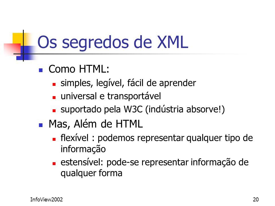 InfoView200220 Os segredos de XML Como HTML: simples, legível, fácil de aprender universal e transportável suportado pela W3C (indústria absorve!) Mas