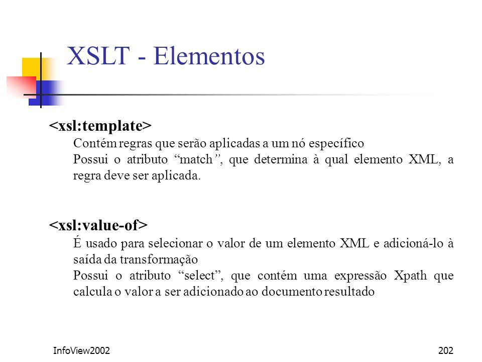 InfoView2002202 XSLT - Elementos Contém regras que serão aplicadas a um nó específico Possui o atributo match, que determina à qual elemento XML, a re