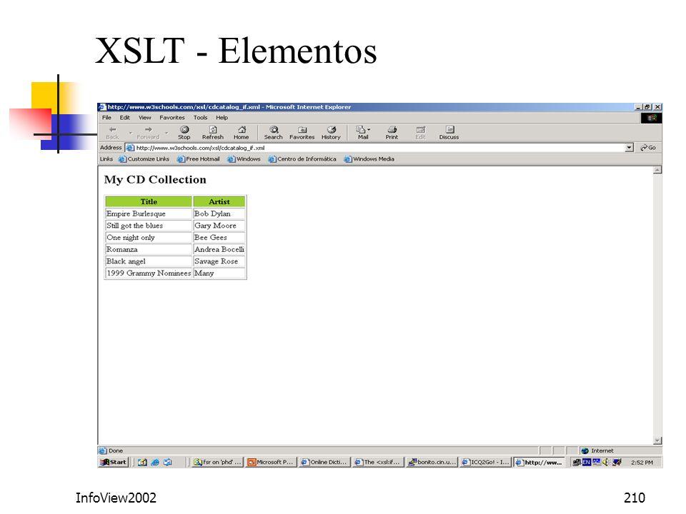 InfoView2002210 XSLT - Elementos