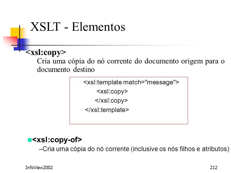 InfoView2002212 XSLT - Elementos Cria uma cópia do nó corrente do documento origem para o documento destino –Cria uma cópia do nó corrente (inclusive