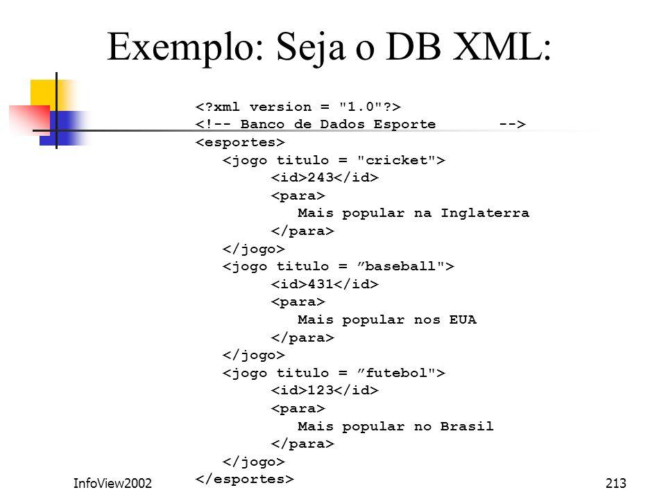 InfoView2002213 243 Mais popular na Inglaterra 431 Mais popular nos EUA 123 Mais popular no Brasil Exemplo: Seja o DB XML: