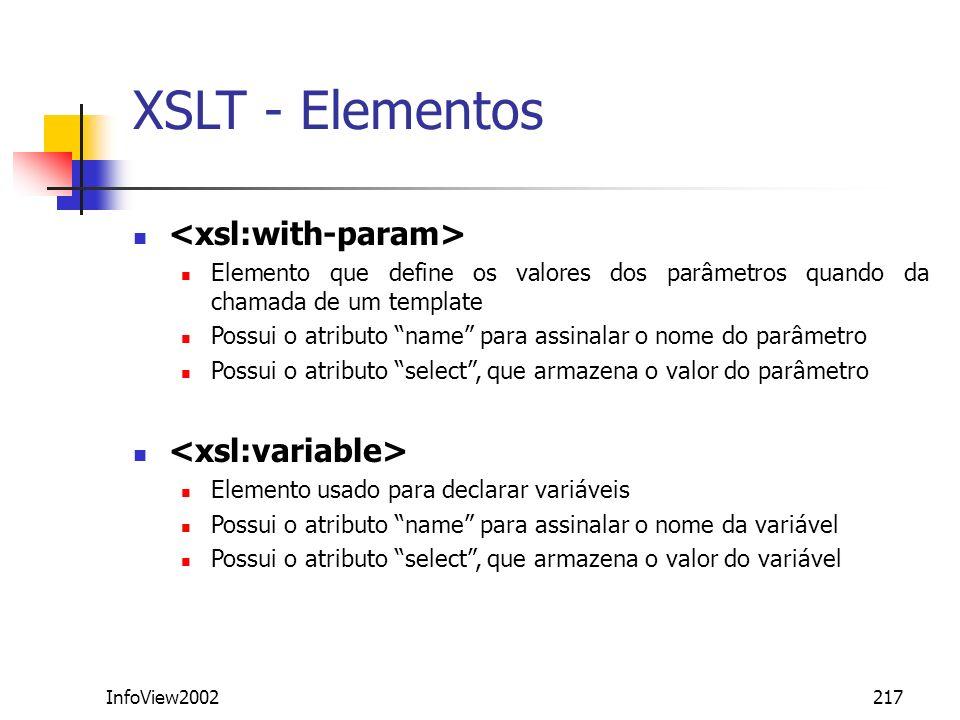 InfoView2002217 Elemento que define os valores dos parâmetros quando da chamada de um template Possui o atributo name para assinalar o nome do parâmet