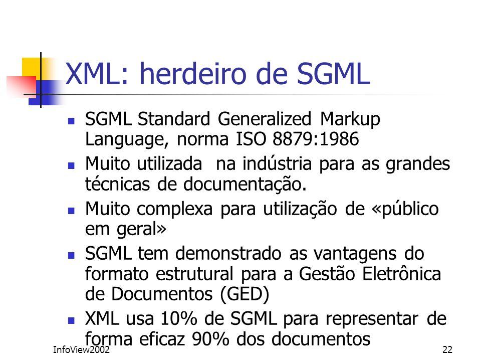 InfoView200222 XML: herdeiro de SGML SGML Standard Generalized Markup Language, norma ISO 8879:1986 Muito utilizada na indústria para as grandes técni