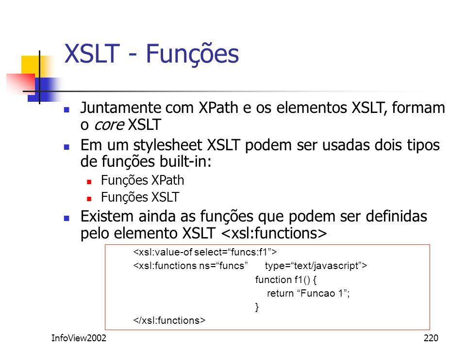 InfoView2002220 XSLT - Funções Juntamente com XPath e os elementos XSLT, formam o core XSLT Em um stylesheet XSLT podem ser usadas dois tipos de funçõ