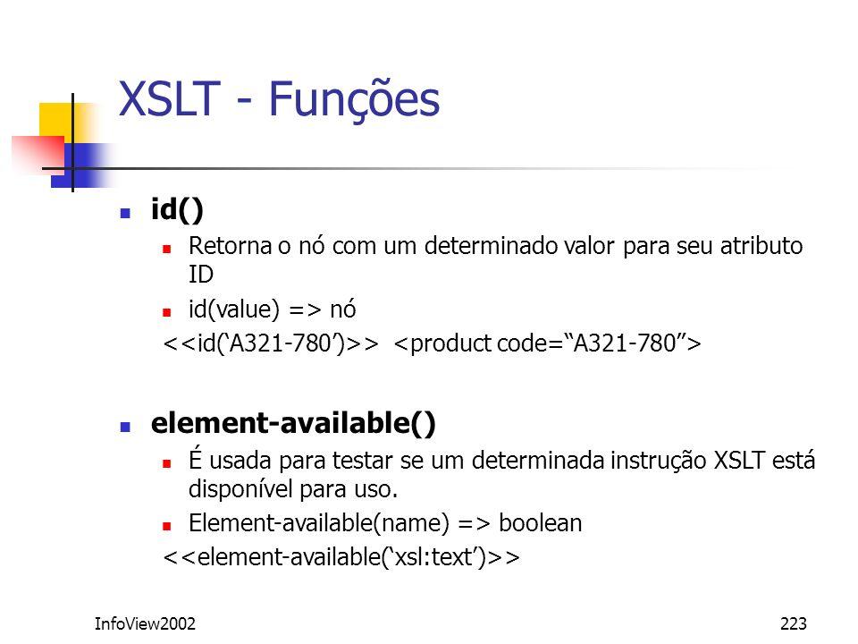 InfoView2002223 XSLT - Funções id() Retorna o nó com um determinado valor para seu atributo ID id(value) => nó > element-available() É usada para test