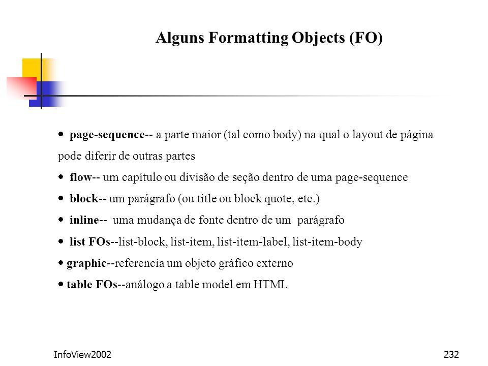 InfoView2002232 page-sequence-- a parte maior (tal como body) na qual o layout de página pode diferir de outras partes flow-- um capítulo ou divisão d