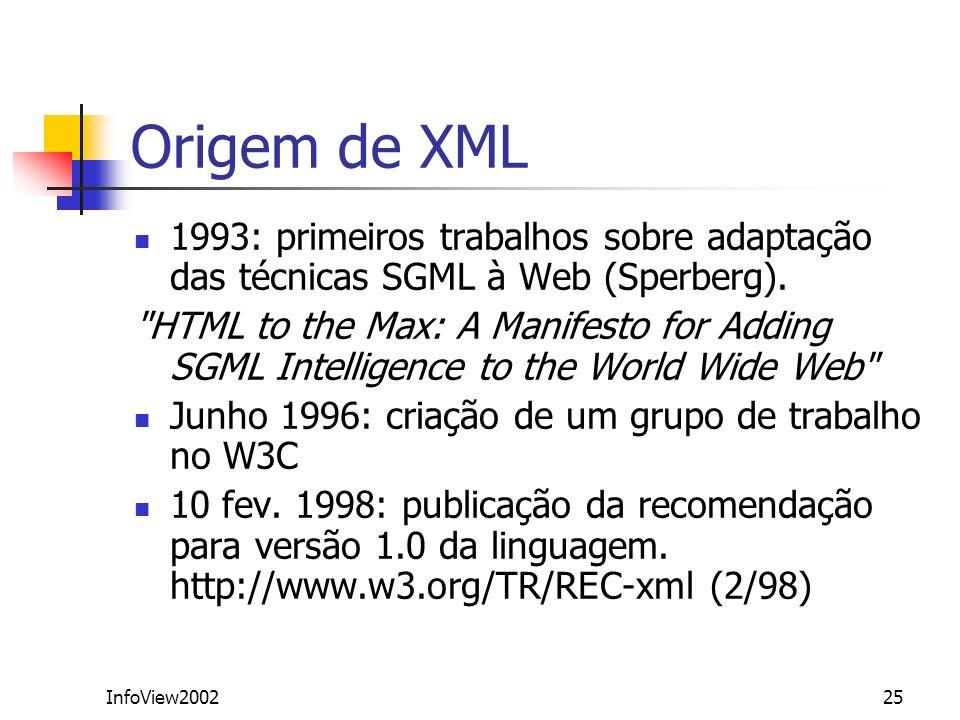InfoView200225 Origem de XML 1993: primeiros trabalhos sobre adaptação das técnicas SGML à Web (Sperberg).