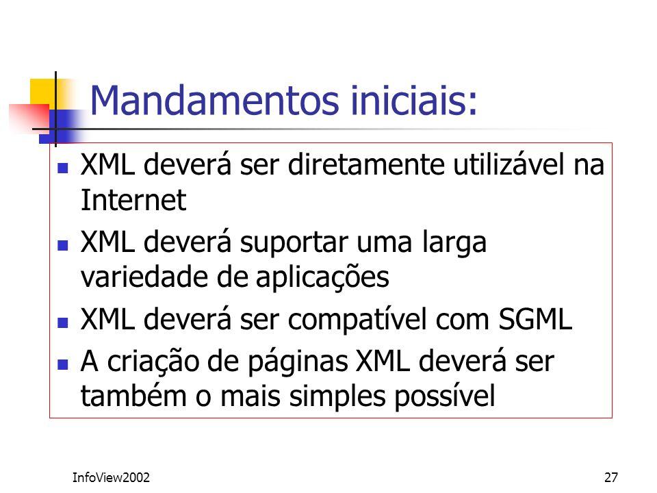 InfoView200227 Mandamentos iniciais: XML deverá ser diretamente utilizável na Internet XML deverá suportar uma larga variedade de aplicações XML dever