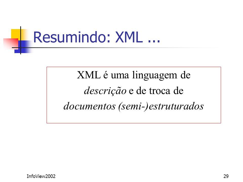 InfoView200229 Resumindo: XML... XML é uma linguagem de descrição e de troca de documentos (semi-)estruturados