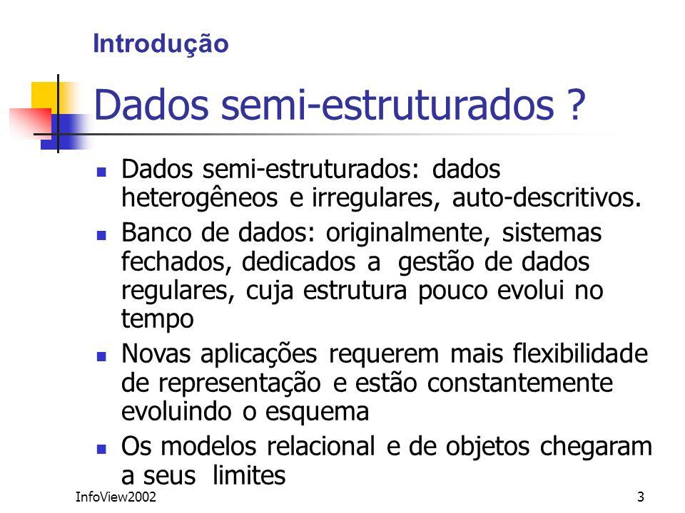 InfoView20023 Dados semi-estruturados ? Dados semi-estruturados: dados heterogêneos e irregulares, auto-descritivos. Banco de dados: originalmente, si