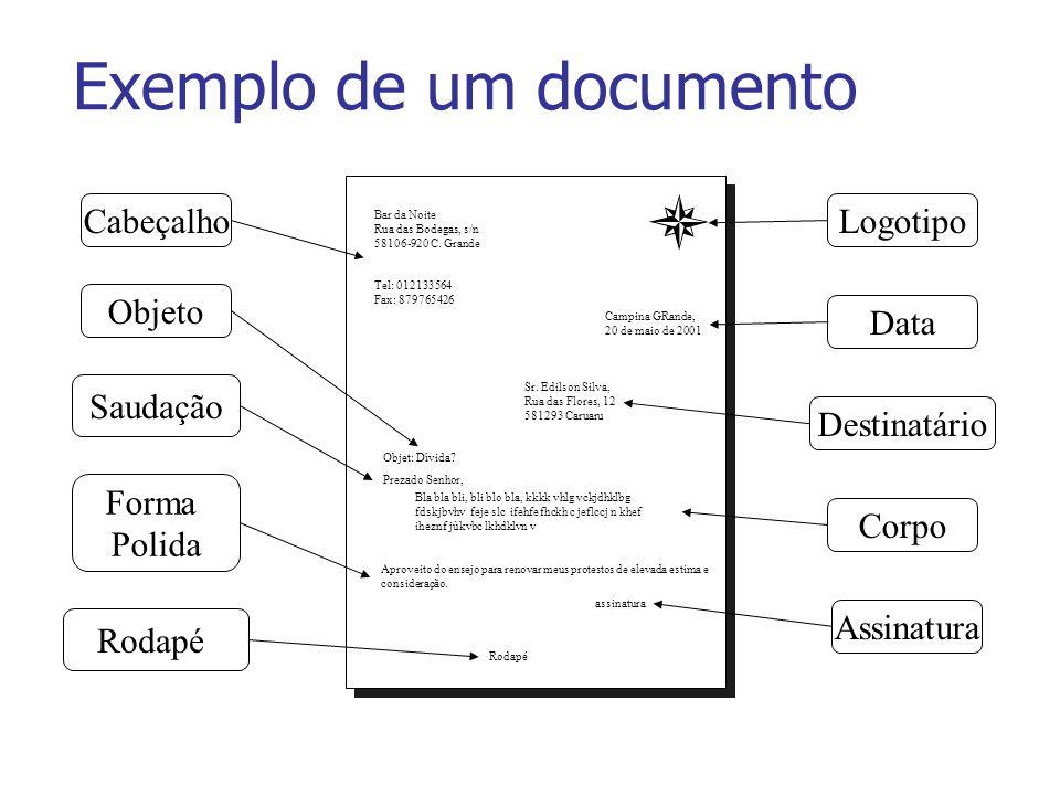 Exemplo de um documento Campina GRande, 20 de maio de 2001 Sr. Edilson Silva, Rua das Flores, 12 581293 Caruaru Bar da Noite Rua das Bodegas, s/n 5810
