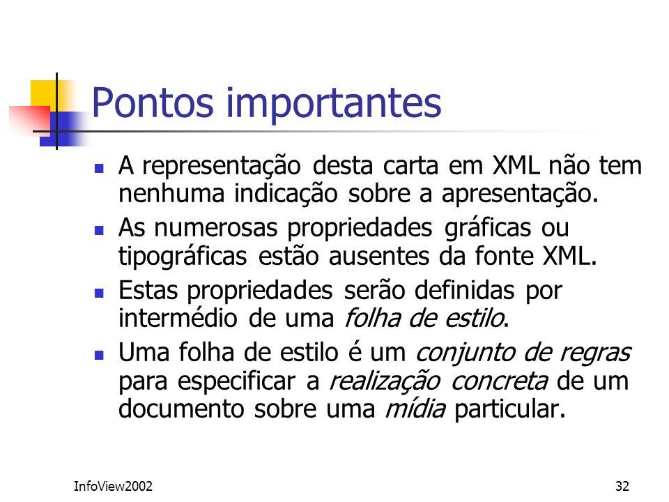 InfoView200232 Pontos importantes A representação desta carta em XML não tem nenhuma indicação sobre a apresentação. As numerosas propriedades gráfica