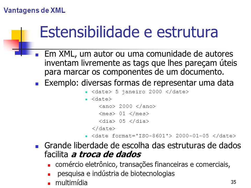 35 Estensibilidade e estrutura Em XML, um autor ou uma comunidade de autores inventam livremente as tags que lhes pareçam úteis para marcar os compone